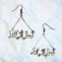 Let It Be Earrings Beatles Quote Lyrics Meaningful Inspiring Gift for a beatles fan or lover of music.
