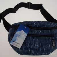 Everest Fanny Waist Pack Blue Tweed 2 Zipper Compartments Pockets Adjustable 57""
