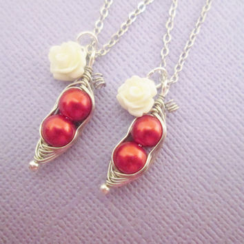 20% OFF SHOP SALE Best friends red two peas in a pod necklace set with white rose