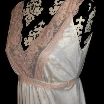 Ivory Nightgown Gown Vintage Ivory Sheer Nylon Pink Lace Long  M Medium