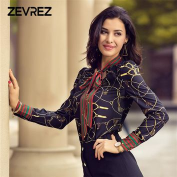 Spring Women Fashion Blouse Bow Ribbon Striped Shirt Black Beige Casual Office Shirts Print Female Big Size Tops Zevrez