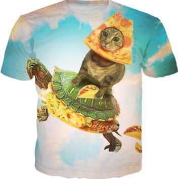 Pizza Cat On Turtle Taco Shooter T-shirts - Men's Crew Neck Novelty Top Tee
