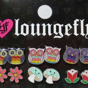 Loungefly Ho Ho Magical Forest Owls with Flowers and Mushroom 6 Pair Earrings Pack