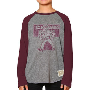 Original Retro Brand Texas A&M Aggies Youth Raglan Long Sleeve Tri-Blend T-Shirt – Gray - http://www.shareasale.com/m-pr.cfm?merchantID=7124&userID=1042934&productID=548704889 / Texas A&M Aggies