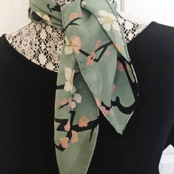 Vintage Scarf, Cherry Blossom Pattern, Neck Scarf, Purse Decor, Aqua, Black, White, Pink, Vintage Accessory, Craft, DIY