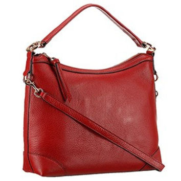 Gucci Miss GG Leather Hobo Dark Red