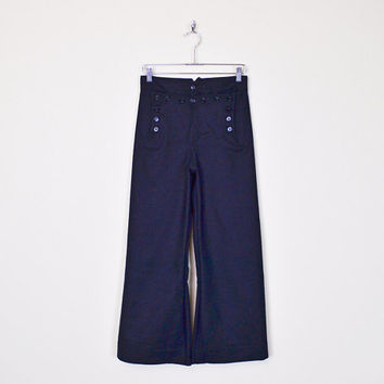 Vintage WWII US Navy Pant Sailor Pant Nautical Pant Wide Leg Pant Bell Bottom Pant High Waist Navy Blue Pant Wool Pant Men S Women M 29 R