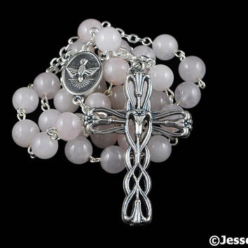 Anglican Rosary Beads Pink Rose Quartz Natural Stone Prayer Beads Silver Christian Episcopal Rosary