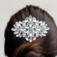 Lucy Style - Wedding Hair Comb Brooch Bridal Hair Comb Rhinestone Hair Comb Silver Crystal Hairpiece