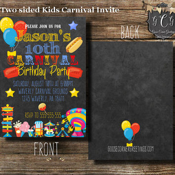 Carnival Invitation, Carnival Invitations,Circus invitations, Circus Party, Carnival Birthday, Circus Birthday,Carnival Baby Shower,Birthday
