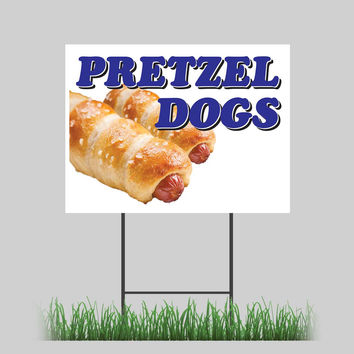 """18""""x24"""" Pretzel Dogs Yard Sign Salty Baked Hot Dog Onions Concession Stand Sign"""