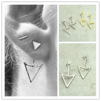 New fashion jewelry cool punk Triangle double side stud mix color gift for women girl E2831