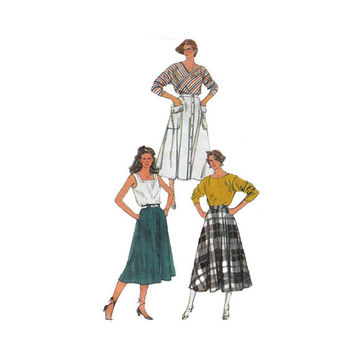 "1980's Simplicity 7502 Woman's Full and Half-Circle Skirts Size 6-10 || Waist 23- 25""/ 58- 64cm 