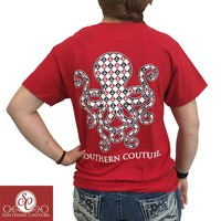 SALE Southern Couture Preppy Classic Anchor Octopus Cherry Red T-Shirt