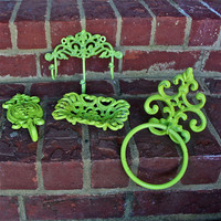 Wall Hook /Lime Green  Iron /Ornate /Cottage/ by AquaXpressions