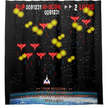Your Mission Take Shower Save Earth Gamer Shower Curtain