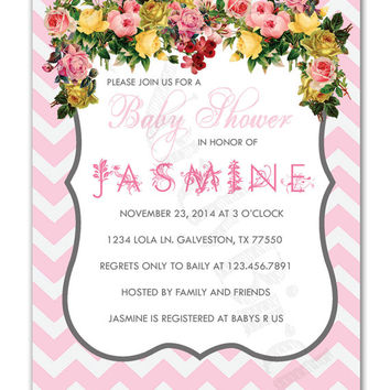 Floral and Light Pink Chevron Printable Baby Girl Shower Invitation