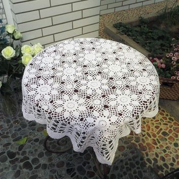 Vintage Crochet Tablecloth Square Dinning Table Cloth Hollow Out Weave Tea Coffee Table Cloth Home Decor Table Cover