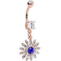 Clear Blue CZ 14k Rose Gold Plated Sparkling Flower Dangle Belly Ring | Body Candy Body Jewelry