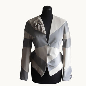 Women's jacket  Flirty Peplum Blazer cropped Tailored jacket handmade in Transformational Reconstruction *FREE Shipping*