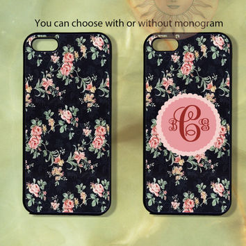 Navy Background Rose Floral with or without monogram -iPhone 5, 4s, 4, ipod touch 5, Samsung GS3, GS4 case-Silicone or Plastic Case, cover