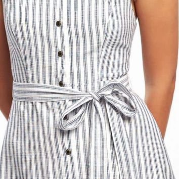 Striped Tie-Belt Midi Dress for Women | Old Navy