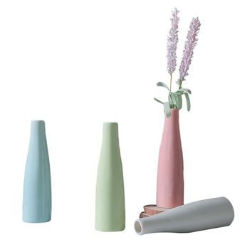 Thick Colorful Ceramic Vase Office Decor Creative Hydroponic Bottle Household Decoration