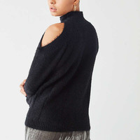 UO Fuzzy Cold-Shoulder Sweater | Urban Outfitters