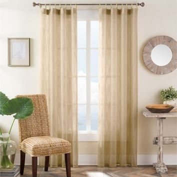 Bamboo Ring Top Window Curtain Panel in Taupe