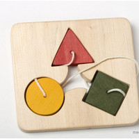 Wooden lacing toy - Geometric Shapes