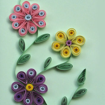 Flowers Quilling Card With 3 Quilled Flowers, Flowers Handmade Quilled Paper Card