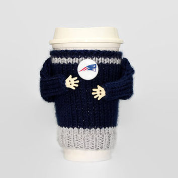 New England football coffee cozy. Coffee sleeve. Football jersey. Coffee cozy. Mug sweater. Travel mug cozy. Football gift. Boyfriend gift.