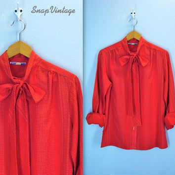 Vintage Red Dotted Blouse Secretary Ascot Tie Bow