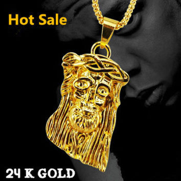 Bling Big and Heavy 24K Gold Plated Jesus piece Necklace Hip pop Jesus Pendant Chain Free shipping 2015 Woman&Men Jewelry