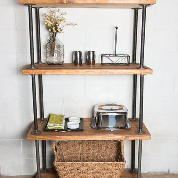 Wooden Bookshelf, Industrial Pipe - Industrial Bookcase - Industrial Bookshelf - Pipe Shelves - Reclaimed Wood, Homestead12TwentySeven