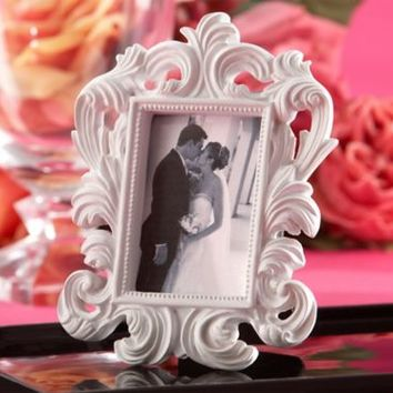 White Baroque Photo Frame Place Card Holder 3 1/2in x 5in | Party City