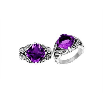 """AR-6233-AM-8"""" Sterling Silver Ring With Amethyst"""