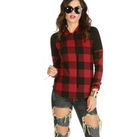 Red Cool Rider Plaid Hoodie