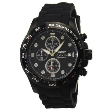 Invicta 7375 Men's Signature II Black Ion Plated Chronograph Black Rubber Strap Watch
