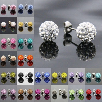 Many colors 8mm Sparkly Crystal Disco Clay Ball Silver Ear Stud Mini Earrings Bling for Bride Wedding Party Birthday Gifts = 1929877700