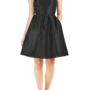 Metal zip back dupion skater dress