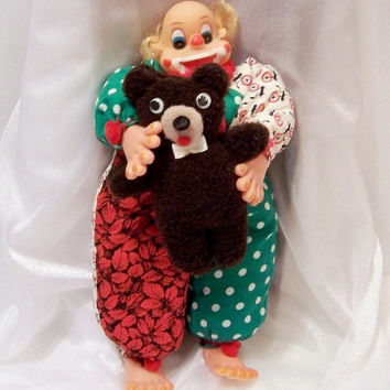Vintage Doll: Happy Clown and his Teddy Bear, Made by Grandma - S1003