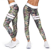 Green with Yellow Hibiscus and Tropical Fern Long Yoga Pants / Leggings