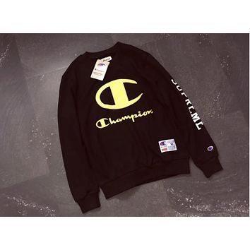 Champion The latest high-quality Terry thin men and women couples paragraph sweater  Black