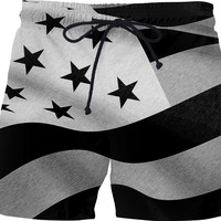 Patriotic men swim shorts, US flag BW pencils, America boy short pants in BW v2