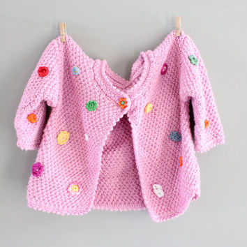 Hand Knitted Toddler Baby Crochet Cardigan Pink Cardigan Girl Button Up Sweater Shower Gift Crochet Flower Cardigan Size 12 to 24 months