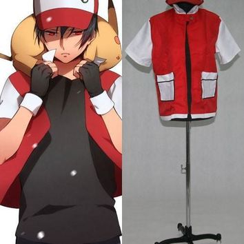 Pokemon Ash Ketchum Red Jacket Cosplay Costume E001