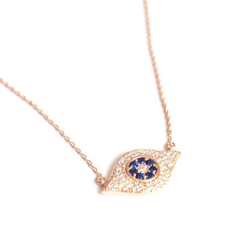 Rose gold plated evil eye necklace