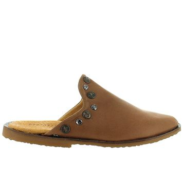 Musse & Cloud Izzie - Brown Leather Studded Flat Mule