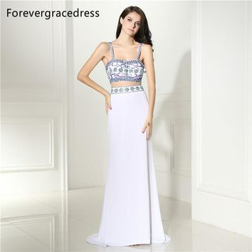 Forevergracedress Two Pieces Prom Dress Spaghetti Straps Backless Beaded Crystals Long Formal Party Gown Plus Size Custom Made
